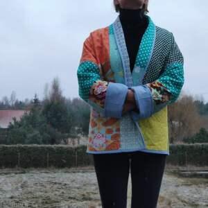 ręcznie wykonane płaszcze płaszcz patchworkowy krótki boho - waciak
