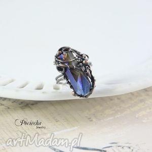 ręcznie robione pierścionki aurora - duży pierścionek z kwarcem tytano