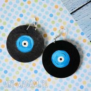 kolczyki - płyty gramofonowe, kolczyki, płyta, gramofon, malowane, muzyka