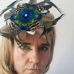 handmade ozdoby do włosów fascynator z piór - kolorowe szaleństwo odłona