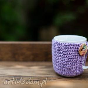 kawa herbata ubranko lila, kubek, ubranko, szydełko, prezent, święta, handmade