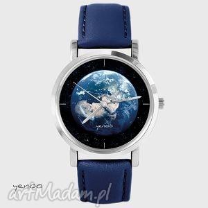 zegarki zegarek, bransoletka - ziemia granatowy, skórzany, ziemia, planeta