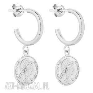 srebrne półkola m z monetami sotho eleganckie, medaliony, sztyfty