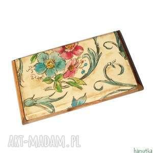 kwiatowy - wizytownik etui na karty kredytowe - białe etui, kobiecy