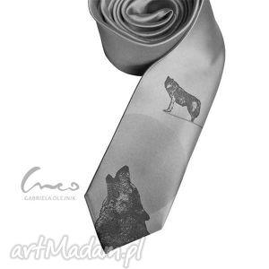 krawat z nadrukiem - wilki, krawat, nadruk, wilk, prezent