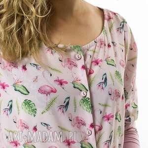 bluzki bluzka flamingi fenicottero rosa, flaming, rękaw, zapinana, guziki