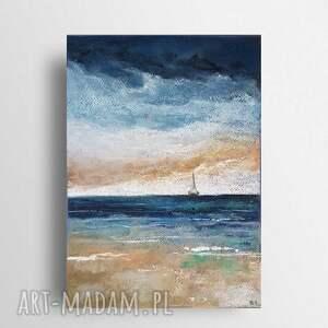 morze-praca wykonana pastelami, pastele, łódź, morze