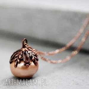 925 różowo pozłacany naszyjnik z perłą w stylu vintage - perła