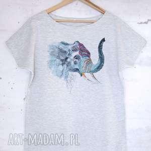 SŁOŃ koszulka bawełniana szara L/XL z nadrukiem, bluzka, koszulka, bawełniana,