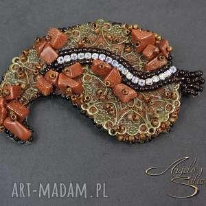 ręcznie wykonane broszki ~angelo~ broszka liść kamienie piasek pustyni
