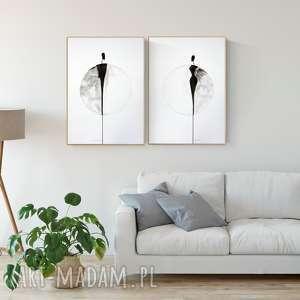 zestaw 2 grafik 50x70 cm wykonanych ręcznie, plakat, abstrakcja, elegancki
