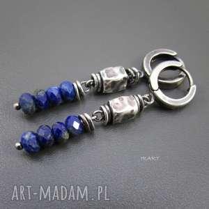 Lapis lazuli z gniecionymi walcami, lapis, srebro