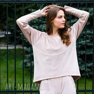 modna bluza welurowa oversize kolor beżowy lona, dresowa welur