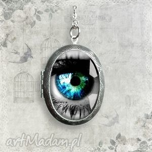 Prezent w jeziorze twoich oczu - medalion sekretnik, oko, antyczny, unikat, otwierany