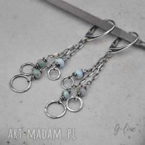 larimar - klejnot karaibów srebrne kolczyki 108, larimar, srebro, długie