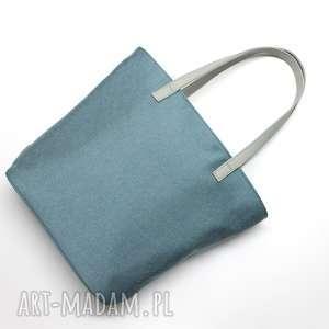 na ramię shopper bag bucket - niebieska i rączki szare, elegancka, nowoczesna