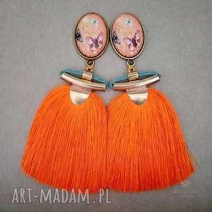 Chwościki pomarańczowe fantazyjne, klipsy, sztyfty, metal, szkło, wiskoza, chwosty