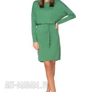 ręczne wykonanie sukienki wiązana sukienka z delikatnej dzianiny t208, zielony