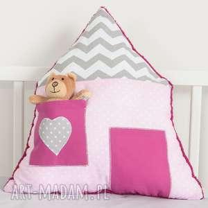 poduszka domek z kieszonką na misia/lalkę, dom, dlalalki, dla-dziewczynki