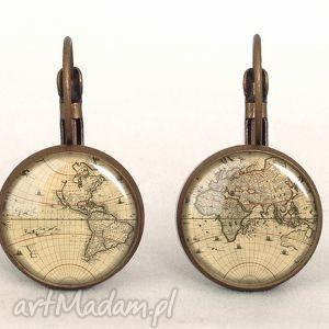 hand made kolczyki mapa świata - małe kolczyki wiszące