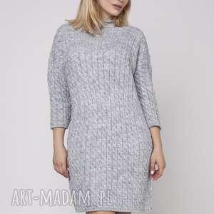 swetry dzianinowa sukienka, suk006 szary mkm, dzianinowa, prosta, dzianina, wzór