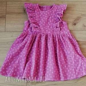 Muślinowa sukienka w kolorze brudny róż!, muślin, bawełna, kwiatuszki, falbanka