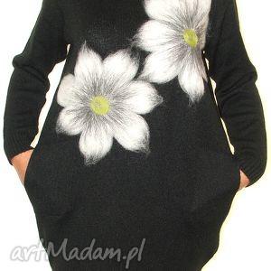 sukienki sukienka wełną zdobiona, kwiaty, filcowanie, wełna, prezent