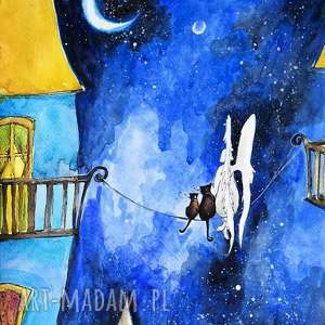 ANIOŁ I KOTY 2 akwarela artystki plastyka Adriany Laube, anioł, kot,