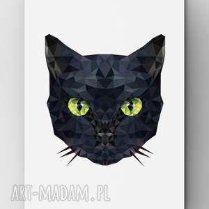 Kot, kot, grafika, poster, plakat, dom, wnętrze