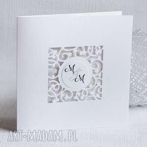 zaproszenia ślubne z ażurkiem, zaproszenie, perłowe, eleganckie, ślub, ażurowe