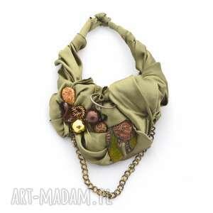 GAME OF CHROMES naszyjnik handmade, naszyjnik, kolia, metaliczny, oliwkowy, łańcuchy