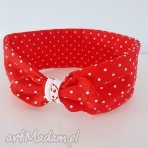 dzianinowa opaska na główkę czerwona - ,opaska,czerwona,słodka,dzianinowa,dres,kropeczki,