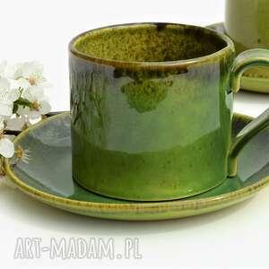 ręcznie lepiona filiżanka ceramiczna ze spodkiem, ceramika, filiżanka, kubek