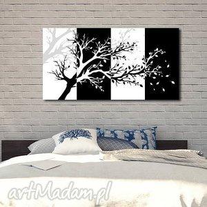 obraz drzewo 4 - 120x70cm na płótnie czarno białe, obraz, drzewo, czarno