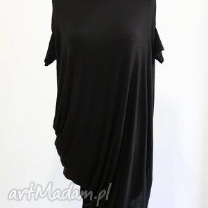 sukienki wiskozowa sukienko-tunika, lejąca, wiskozowa, asymetryczna, aplikacja