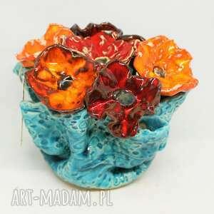 prezent wielki flower box kwiaty ceramiczne piękny wyjątkowy komplet handmade