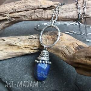 naszyjnik ze srebra i lapisu lazuli, srebro oksydowane, lapis lazuli