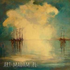 obraz na płótnie - turkusowe morze 40/30 cm, abstrakcja, turkus, brąz, morze, akryl