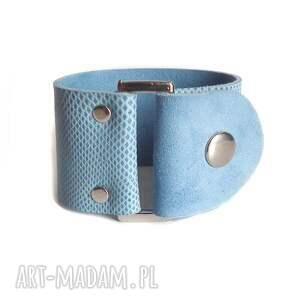 bransoletka skórzana niebieska buckle, skórzana, zamsz, wężowa