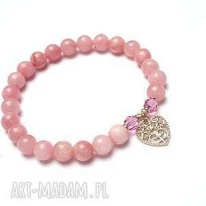 SREBRO 925 -rose heart vol. 2 , jadeit, różowe-złoto, srebr-pozłacane, serce