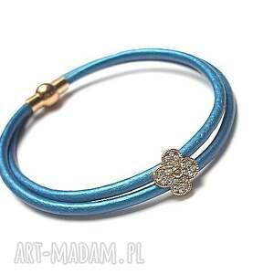 strap matalic blue 17 02 , skóra, rzemień, cyrkonie
