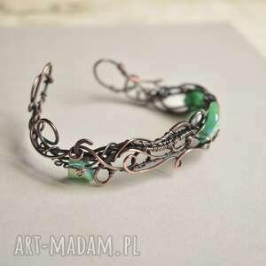 ręcznie zrobione elf - bransoletka ze szklanymi listkami w elfim stylu