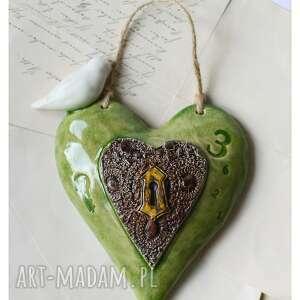 szmaragdowe serce z ptaszkiem, ceramika, sece, ptak, klucz, walentynki