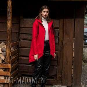 bluza-płaszcz longline czerwona, sukienka, bluza, kurtka, bluzka, marynarka