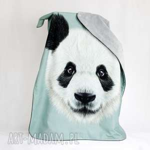 kocyk minky 75x100 panda szara - kocyk, dziecko, minky, niemowlak, panda, kołderka