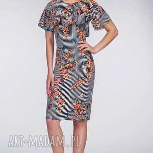 sukienki sukienka elena midi lukrecja, falbana, paski, motyle, kwiaty, dopasowana