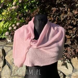 chustki i apaszki elegancki, delikatny szal nitkowe love różowy 40 x 200 cm