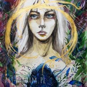 łucja niosąca światło akwarela artystki adriany laube - portret, obraz