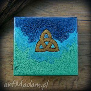 ręcznie malowane drewniane pudełko celtycka triquetra, celtyckie