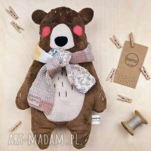 maskotki miś z szalikiem - leśna przytulanka minky, misio, włóczka, prezent